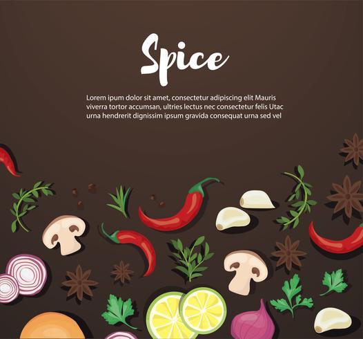 Especias y alimentos vegetales de fondo y espacio para escribir.