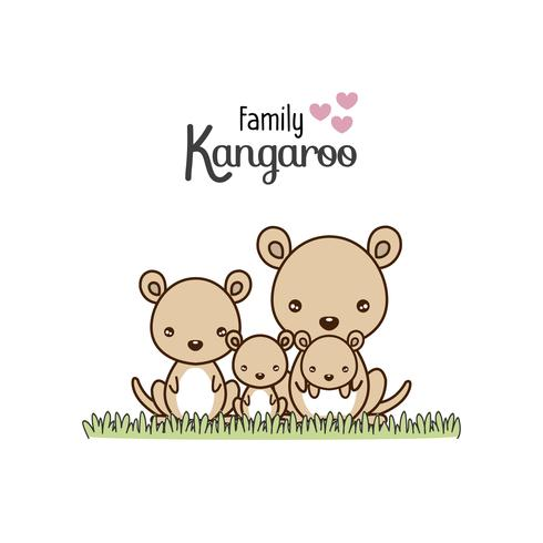 Kangaroo Family Father Mother and Newborn Baby.   vector