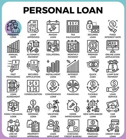 Icone personali di prestito vettore