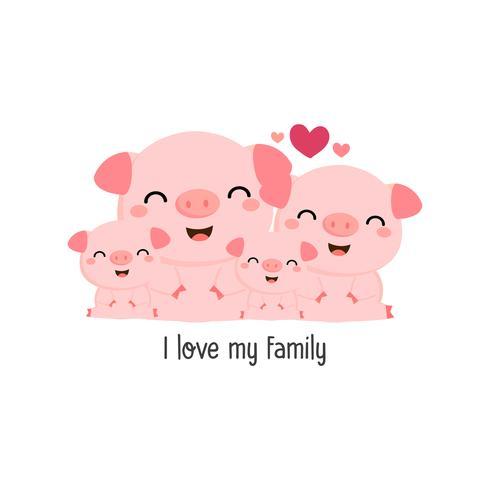 Família de porco bonito.