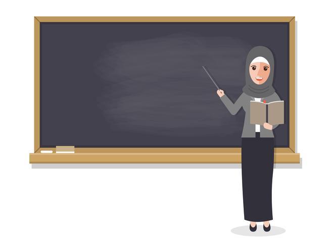 Moslimleraar die student in klaslokaal onderwijst