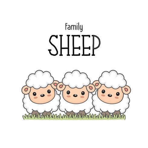 Família de ovelhas felizes. Mamãe papai e bebê ovelhas dos desenhos animados.