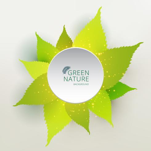 Verde deja el concepto de naturaleza con etiqueta círculo color blanco