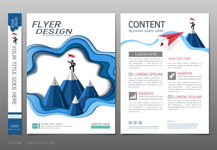Omsluter bokdesign mall vektor, Ledarskap framgång koncept. vektor