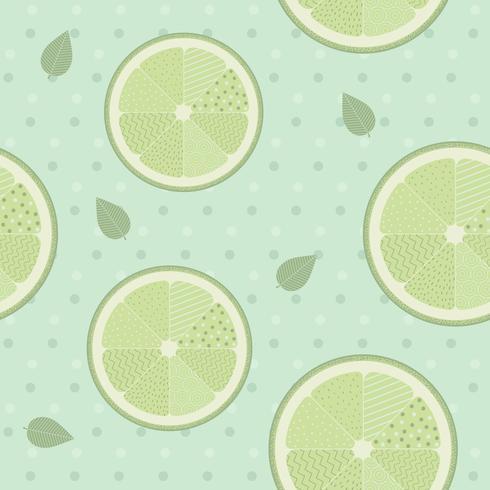 Lime seamless pattern template on blue background. Lemon background vintage style.Vector Illustration.