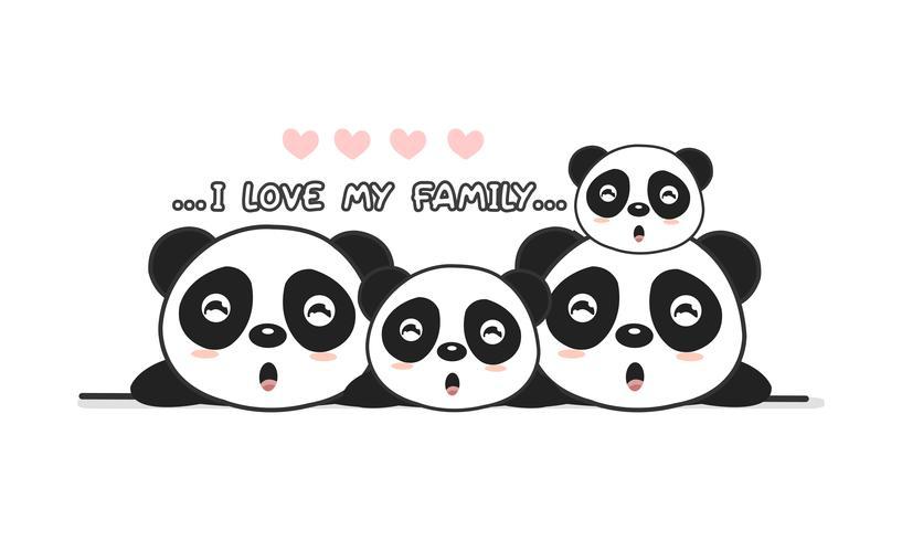 """Cute happy panda family say """"I love my family""""."""