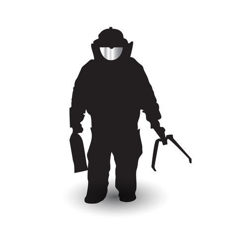 Soldat de silhouettes d'élimination de munitions explosives vecteur