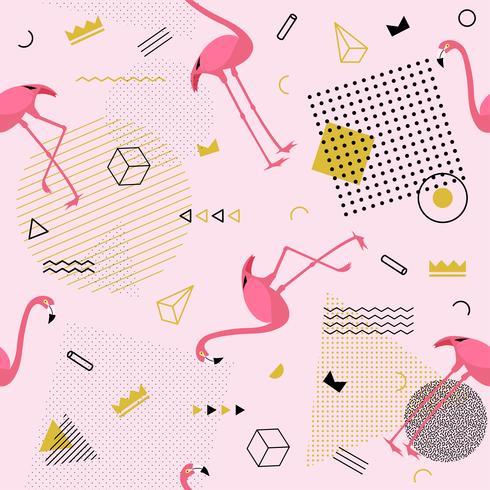 Patrón sin costuras de Memphis con flamencos y formas geométricas. Moda colorida de los años 80 y 90. Ilustración vectorial