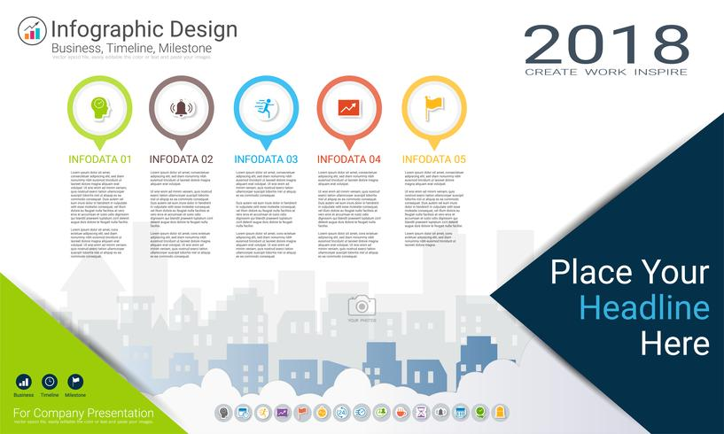 Business Infographics Template Milestone Timeline Or Road Map With