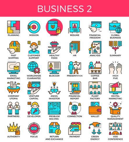 Iconos de líneas esenciales de negocios