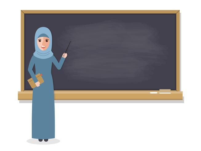 Unterrichtender Student des moslemischen Lehrers im Klassenzimmer.
