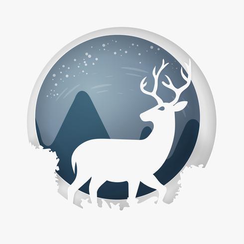 Joyeux Noel et bonne année. Vacances d'hiver et le renne. art en papier et style artisanal.