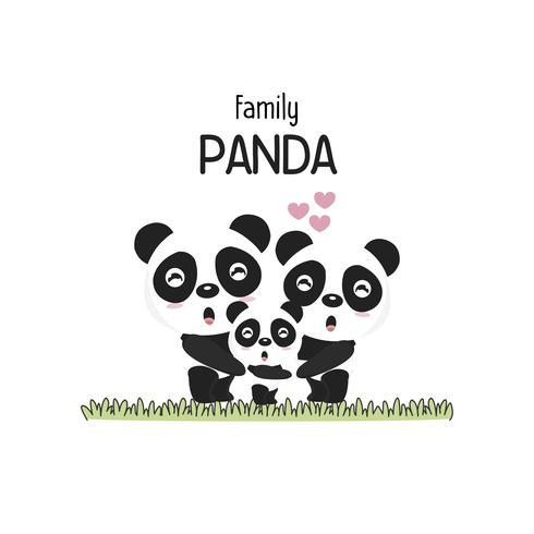 Linda panda familia padre madre y bebé.