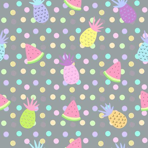 Modèles sans soudure d'ananas et de melon d'eau sur fond de points pour l'impression et la conception de bannière d'été, papier peint et tissu d'impression. Illustration vectorielle