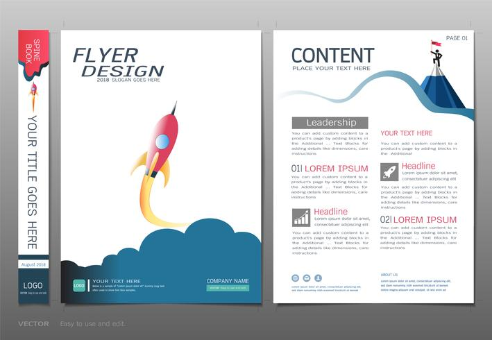 Cubre el vector de la plantilla del diseño del libro, concepto de la puesta en marcha del negocio.