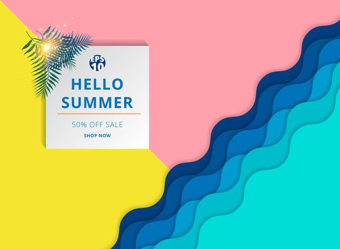 Summer sale background template layout for banner.