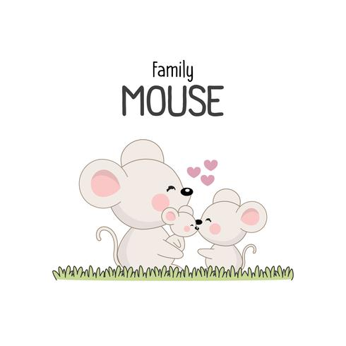 Mouse Family Father Mother and Newborn Baby.