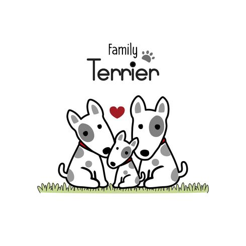 Terrier Dog Family Father Mother and Newborn Baby.