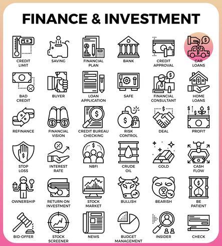 Icono de línea de concepto de inversión y finanzas