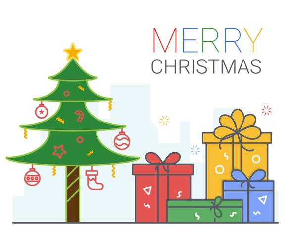 Merry Christmas and Happy New Year. xmas background. thin line art style. vector