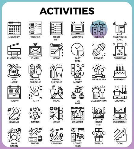 Concepto de actividades diarias iconos de línea detallada