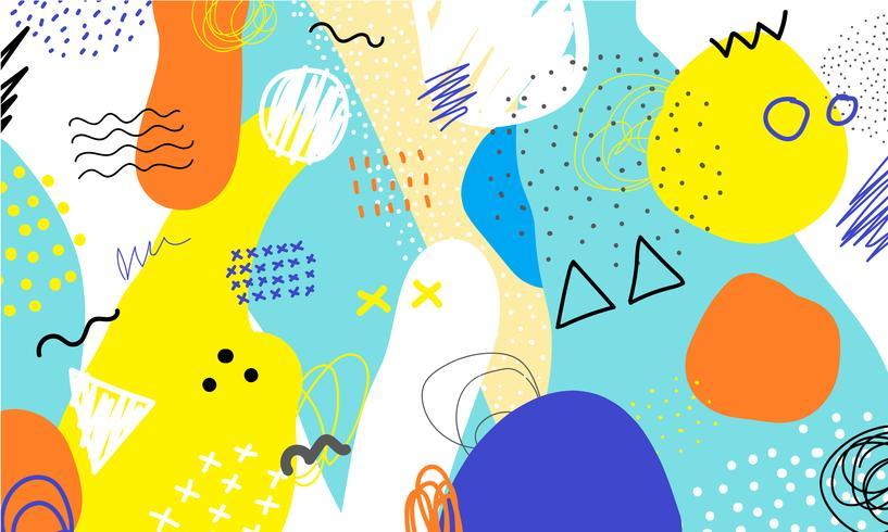 Mano abstracta del fondo del collage dibujada colorida. Pintura artística hermosa coloreada con elementos de dibujo a mano para impresión de tela, papel de regalo, papel para imprimir, papel tapiz, banner y fondo de póster.