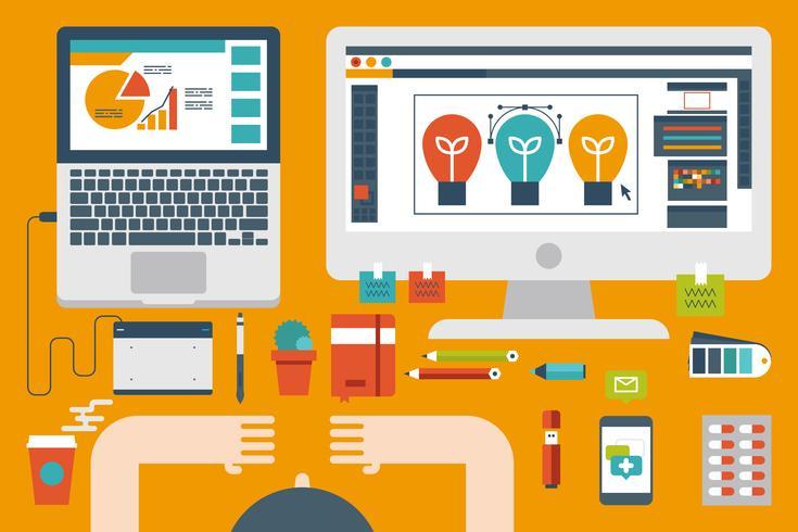 concepto de diseño plano de escritorio de oficina vector