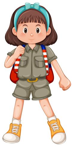 Linda chica scout con diadema vector
