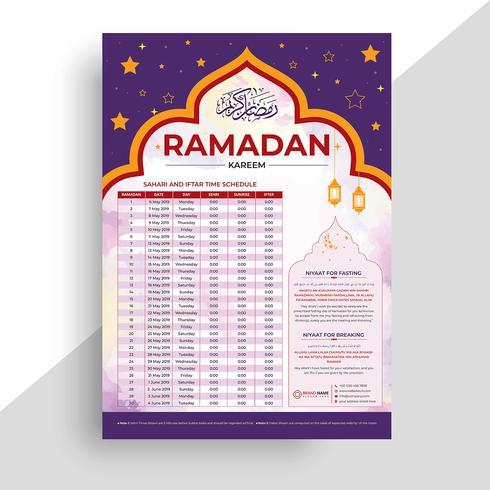 Ramadan Kareem Calendar Design. Calendario islámico y horario de Sehri Ifter.
