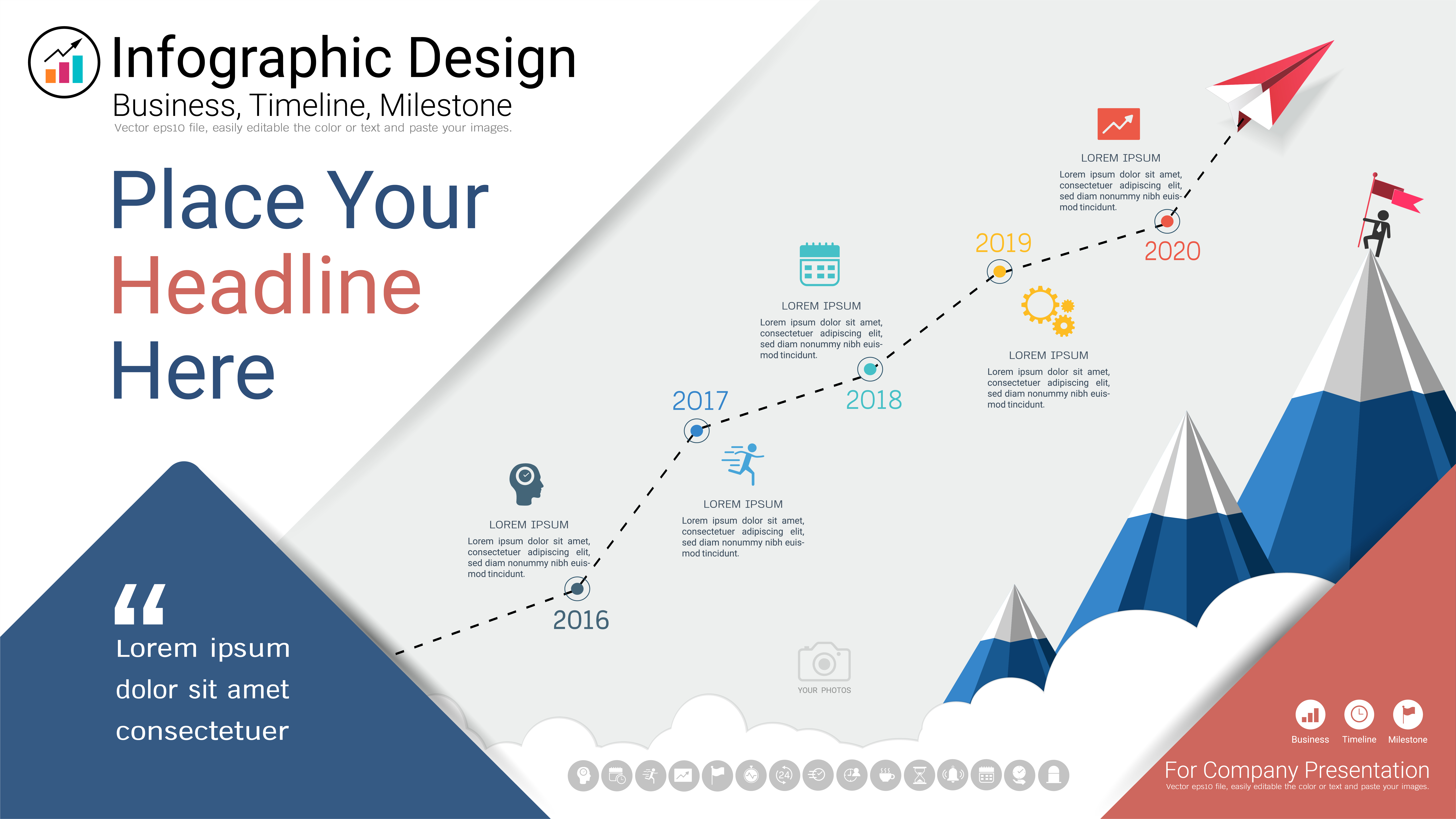 business infographics template  milestone timeline or road map with process flowchart 5 options