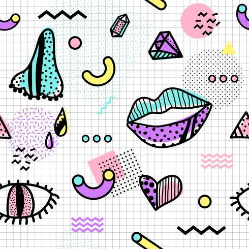 Modèle sans couture de Memphis coloré. Modèle sans couture géométrique de différentes formes de style années 80-90. Illustration vectorielle