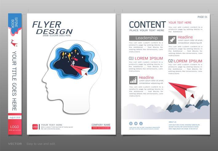 Plantilla de diseño de portadas, liderazgo empresarial y concepto de éxito.