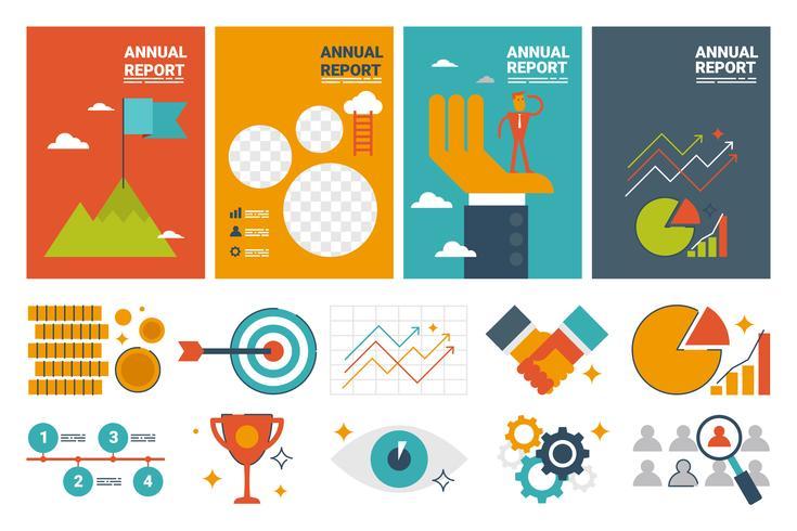 Plantilla de hoja de cubierta A4 de informe anual y elementos de iconos de diseño plano