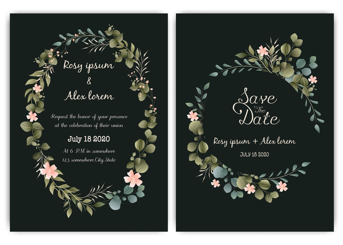 Invitación de la boda del verdor, invitación de la boda del eucalipto de la plantilla. vector