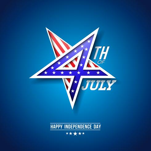 4th of July Independence Day of the USA Vector Illustration with 4 Number in Star Symbol. Fourth of July National Celebration Design with American Flag Pattern on Blue Background
