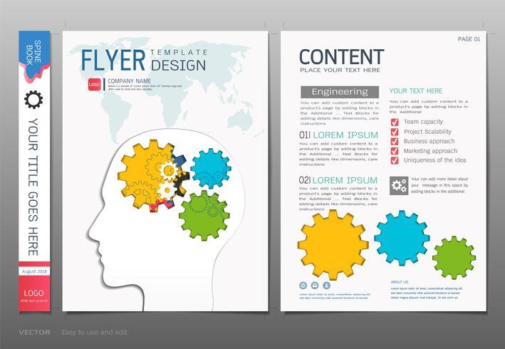Cubre el vector de la plantilla del diseño del libro, conceptos gráficos de la información de los engranajes.