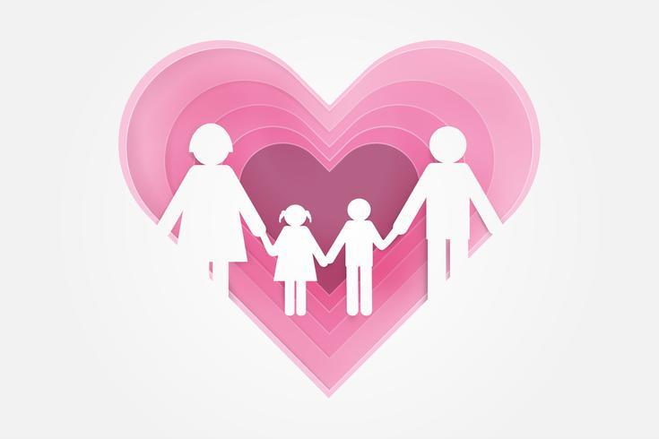 Feliz amor familia Feliz día de los padres con padre, madre e hijos. Diseño de arte en papel.