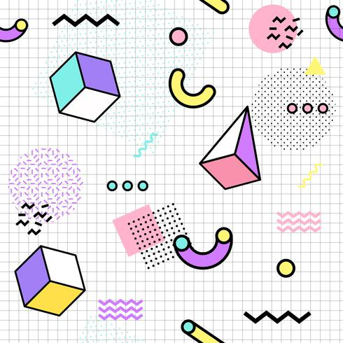 Memphis seamless pattern colorful  Geometric seamless