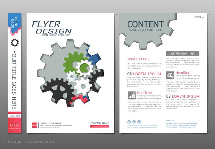 Cubre vector de plantilla de diseño de libro, conceptos de ingeniería de negocios.