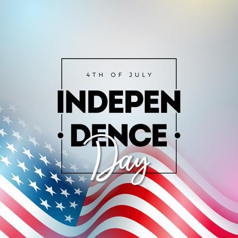 4. Juli Unabhängigkeitstag der USA-Vektor-Illustration mit Buchstabe der amerikanischen Flagge und der Typografie auf glänzendem Hintergrund. 4. Juli Nationales Festdesign