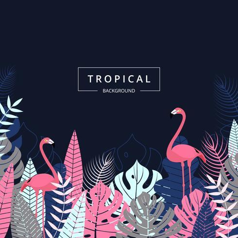 Sfondo tropicale con uccello Flamingo. Foglie e fiori tropicali Foglia esotica giungla su sfondo scuro per la progettazione di banner di promozione, flyer, poster di partito, stampa e sito Web. Illustrazione vettoriale