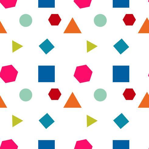 Modèle sans couture avec des cercles, carrés, triangle et hexagone de couleurs fraîches sur fond blanc. Texture répétée de vecteur.