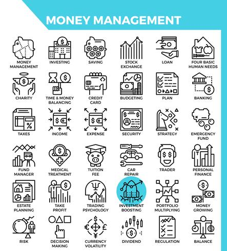 Money management icons vector