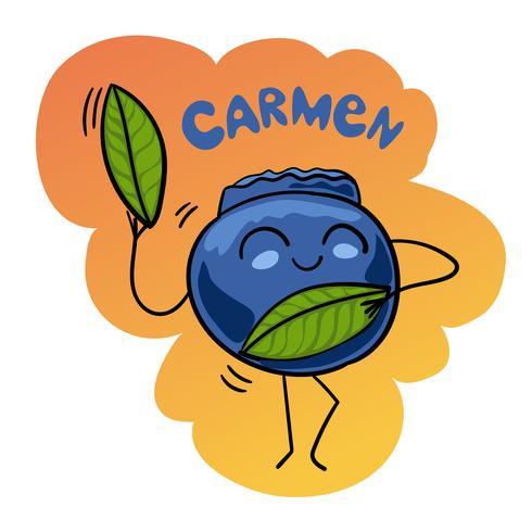 Cartoon vectorillustratie van grappige bosbes bessen fruit eten komisch karakter Carmen dans