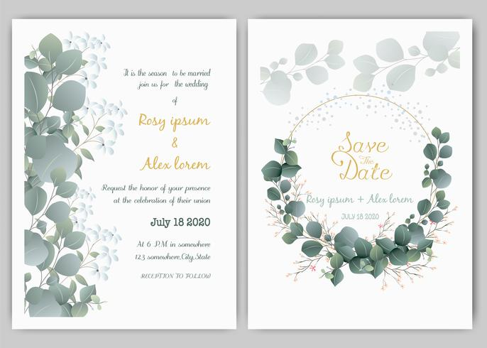 Grün-Hochzeits-Einladung, Schablonen-Eukalyptus-Hochzeits-Einladung.