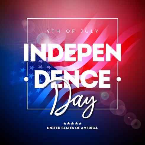4th of July Independence Day of USA Vektor illustration med amerikanska flaggan och typografi brev på blank bakgrund. Fjärde juli National Celebration Design