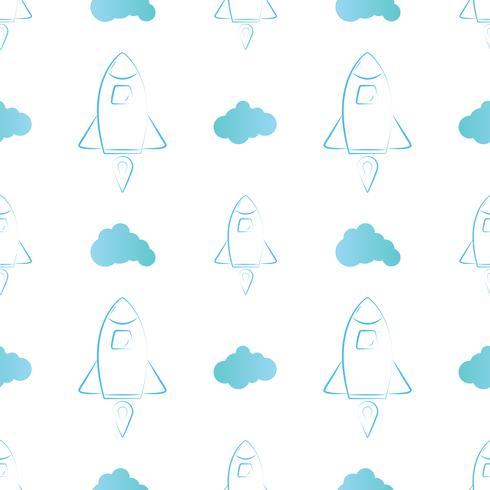 Estilo de línea de cohete y patrón sin costuras en la nube. Ilustración vectorial sobre fondo blanco. Diseño para textil, papel pintado, tela.