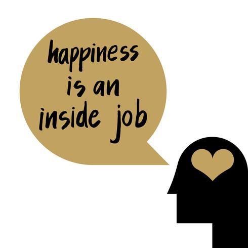 La felicidad es un trabajo interior vector
