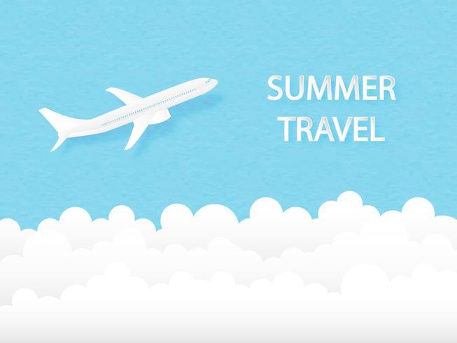 Vuelo del aeroplano del concepto del viaje del verano en el cielo. Estilo de corte de papel artesanal digital. Diseño de ilustración vectorial