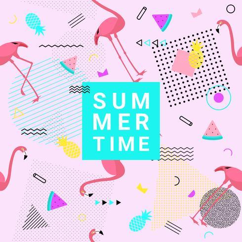 Verão memphis estilo de fundo com flamingo, melancia, abacaxi e formas geométricas para banner de promoção, flyer, cartaz do partido, impressão e site. Ilustração vetorial